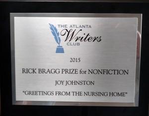 writing award plaque