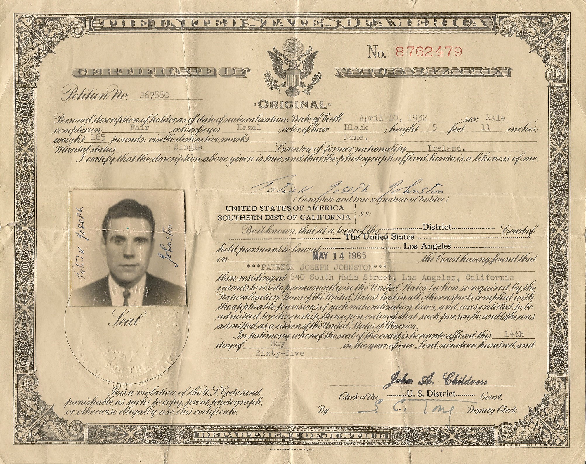 Dad naturalization record