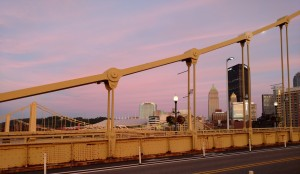 Pittsburgh skyline at sunset from the Roberto Clemente (aka Sixth Street) bridge.