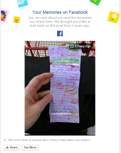 "A Facebook ""On this Day"" moment capturing my mom's crazy shopping list."
